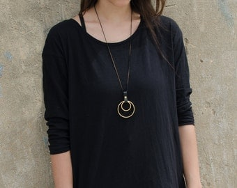 Two Circles Gold Necklace, Long Necklace,Leather And Gold Necklace, Circle Necklace