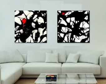 Oversized Prints, Abstract Diptych, Black and White Art, Giclee, Large Canvas Print, Contemporary, resin painting, extra large wall art