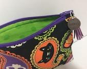 Trick or Treat Paisley Zipper Pouch. Metal Charm + Tassel Pull. Halloween Makeup Bag. Travel Bag. Spooky Clutch. Halloween Pencil Pouch.