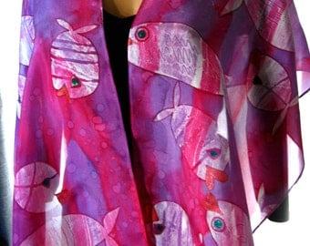 Hand Dyed Batik Scarf. 14x72 inch Magenta Silk Scarf. Deep Pink, Purple & White, Habotai Silk Ocean Scarf. Pink Silk Scarves. Gift Idea.