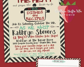Kitchen/Recipe Bridal Shower Digital Combo, Invite and Recipe Card, 5x7 and 4x6