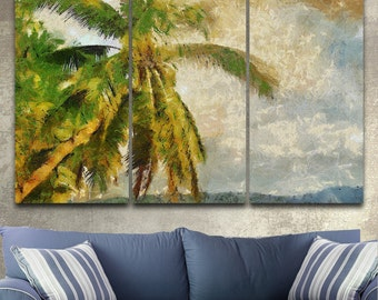 Tropical Vintage Palm Canvas Gallery Wrapped Painting Wall Decor Triptych