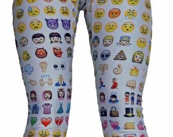Youth Emoji Leggings on White Background, Girls Leggings, Printed Leggings, Yoga Pants, Running Pants, Exercise Pants