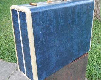 Vintage Blue Samsonite Large Suitcase Retro Hard Shell Luggage Travel