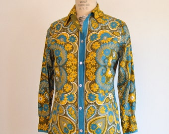 Vera Blouse Long Sleeve Shirt Cotton Size 12 Medium Floral Yellow Blue Brown