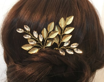 Gold wedding hair pins x2, flower headpiece bridal hair accessories, bridal hair pins, wedding hair piece, wedding hair flowers bridal pins