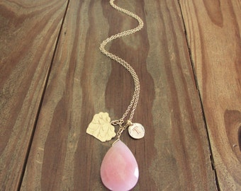 Personalized pink birthstone gift, initial T letter necklace/gold plated leaf charm & pink jade stone, best pink breast cancer survivor gift