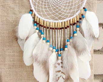 """White Dreamcatcher Boho Feather Wall Decoration """"Flight to the Great Water"""" Tribal Feather Dreamcather Boho Decoration White Dreamcatcher"""