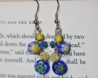Blue and Yellow Millefiori Earrings