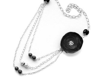 Black Fabric Flower Necklace, Black and White Pearls Necklace, Bridal Jewelry, Unique Necklace, Statement Necklace, Three Strands Necklace