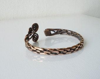 Copper bracelet cuff, Woven wire cuff, Unique, Copper jewelry, Bracelet for men