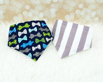 Dribble Bibs - Bowties & Big Grey Stripes - Set of 2 baby bandana bibs (or choose your own fabric)