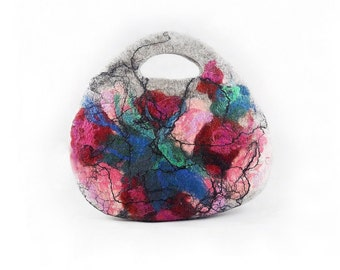 Felted Bag Handbag Purse Felt Nunofelt Nuno felt Silk pink rose turquoise fairy multicolor floral fantasy shoulder bag Fiber Art boho
