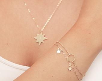 Dainty Gold Bracelet Tiny Star Bracelet  Layered Friendship Minimalist Delicate gold filled or Silver Bracelet Everyday Jewelry.
