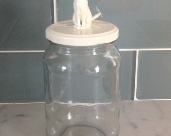 Recycled Glass Jar - Cat in Creamy White
