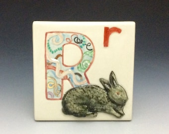 "R is for rabbit, tile, ""r"" is for ribbon, r is for red, baby gift porcelain hand modeled scene, wired to hang"