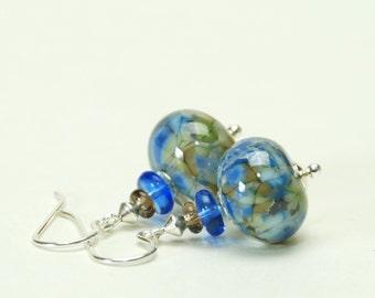 Delft Blue Earrings - Blue Lampwork Earrings on Sterling Silver Earwires
