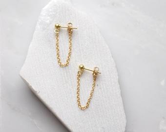 Gold Drop Earrings Chain Stud Earrings Simple Earrings Gold Chain Earrings
