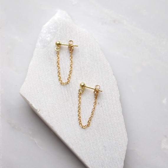 Gold Drop Earrings Chain Stud Earrings Simple Earrings Gold