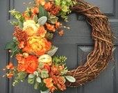 Orange Spring Wreath, Spring Door Decor, Orange Floral Wreath, Spring Designs, Orange and Green, Spring Door Wreaths, Orange Decor