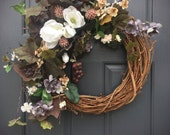 Magnolia Wreath, Grape Wreath, Year Round Wreaths, All Season Door Wreath, Grapevine Decor, Year Round Door Wreath, Magnolia Flowers