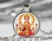 Lakshmi Goddess Jewelry, Beauty And Wealth Hindu Goddess Necklace, Lakshmi Goddess Religion Pendant [C58]
