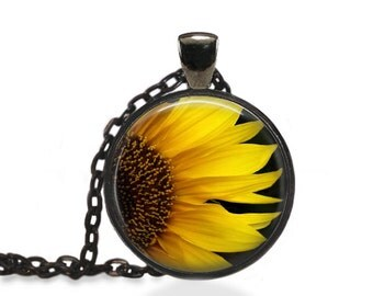 Bohemian Flower Pendant, Sunflower Jewelry, Nature Flower Necklace [B5]