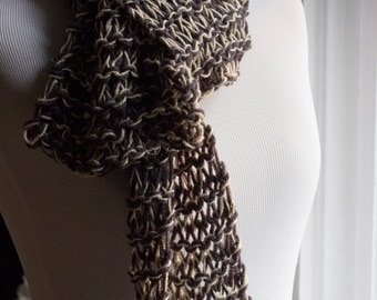 Rustic Simple gray and ivory scarf