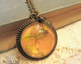 Oak Leaves Nature Jewelry Art Pendant Abstract Art Orange Green Nature Necklace Round Bronze with Glass