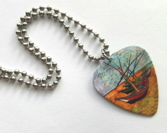 Fishing Boats Vincent Van Gogh Guitar Pick Necklace with Stainless Steel Ball Chain - artist