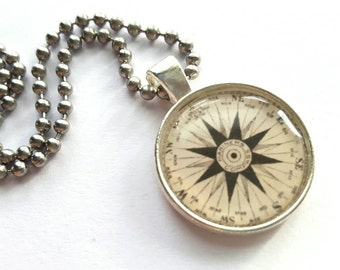 RESERVED Compass Print Silver Tray Pendant