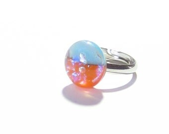 Turquoise Orange Fused Glass Ring, Small Colorful Adjustable Ring, Nickel Free Ring,  Dichroic Ring, Handmade Fused Glass Jewelry, For Her