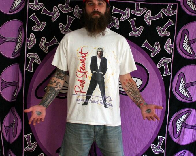 Featured listing image: Vintage Rod Stewart T Shirt. Rare 90s Rod Stewart Rocker Tour T Shirt. 1991 Rod Stewart White Vagabound Heart Concert Tour T Shirt