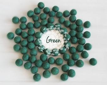 Wool Felt Balls - Size, Approx. 2CM - (18 - 20mm) - 25 Felt Balls Pack - Color Green-1090 - Wool Felt Balls - Pom Poms - Forest Green Balls