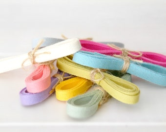 "Eco Friendly Cotton Ribbons Bundle ""Samplers""- 5 Yards - 100% Cotton Ribbons - 1/4"" wide - 1 Yard Each color you choose - Ribbons"