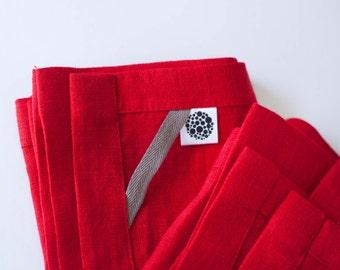 Linen tea towels set - Kitchen Towels  - Red Linen Tea Towels Collection - red linen towel - kitchen linens - hand towel - kitchen decor