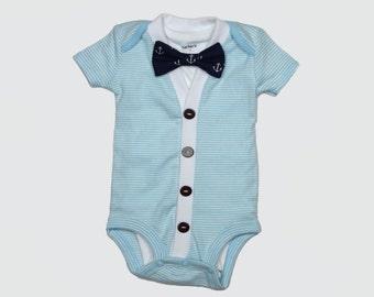 Baby Cardigan and Bow Tie Set - Trendy Baby Boy - Light Blue - Cardigan Onesie