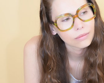Green Multi Color Vintage Oversized Square Eyeglass Frame Italy Free Priority Shipping