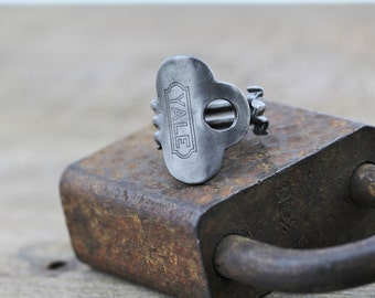 Antique Key Ring - Size 7 - Yale Steel - Handcrafted - Powder Coated - Repurposed - Upcycled - Unique