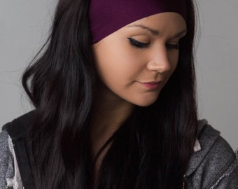 World's Greatest Headband Running Headband The BEST Yoga Headband ever Non Slip Stretchy Purple No Slip  Headband Wide Headband - MERLOT