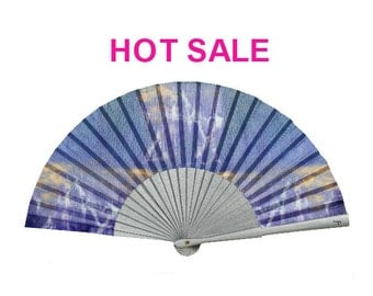 SALE: Folding Hand Fan | abstract print | star of david | blue / silver | eco friendly | wood and cotton fabric | Free Shipping Worldwide
