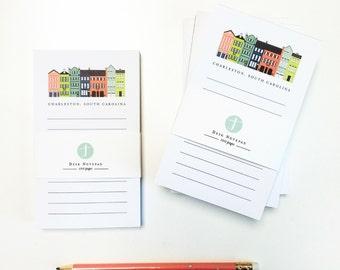 Rainbow Row Notepad; Charleston, SC gift; Charleston writing pad