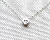 Tiny Skull Necklace, Dainty Sterling Silver Jewelry, Simple Modern