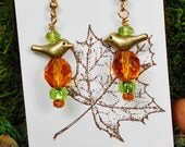 Woodland Bird Earrings, Fall Earrings, Czech Beads Earrings, Bird Earrings, Bird Jewelry, Woodland Jewelry, Autumn Gold and Green Earrings