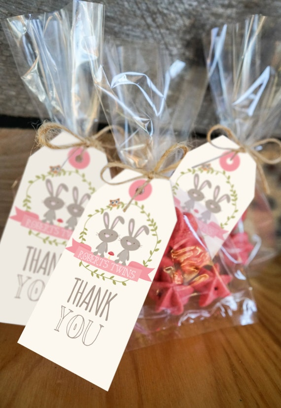 Twin Bunny Baby Shower Favors Tags Twin Baby Shower Favors Labels