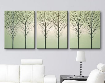 """Large Canvas Art Wall Decor Original Painting Wall Art Abstract Home Decor Tree Wall Hangings Paintings Huge 3 Piece Set Sage Green 72""""x30"""""""