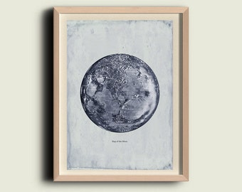 Map of the Moon Vintage  Print Wall Art Decor Poster