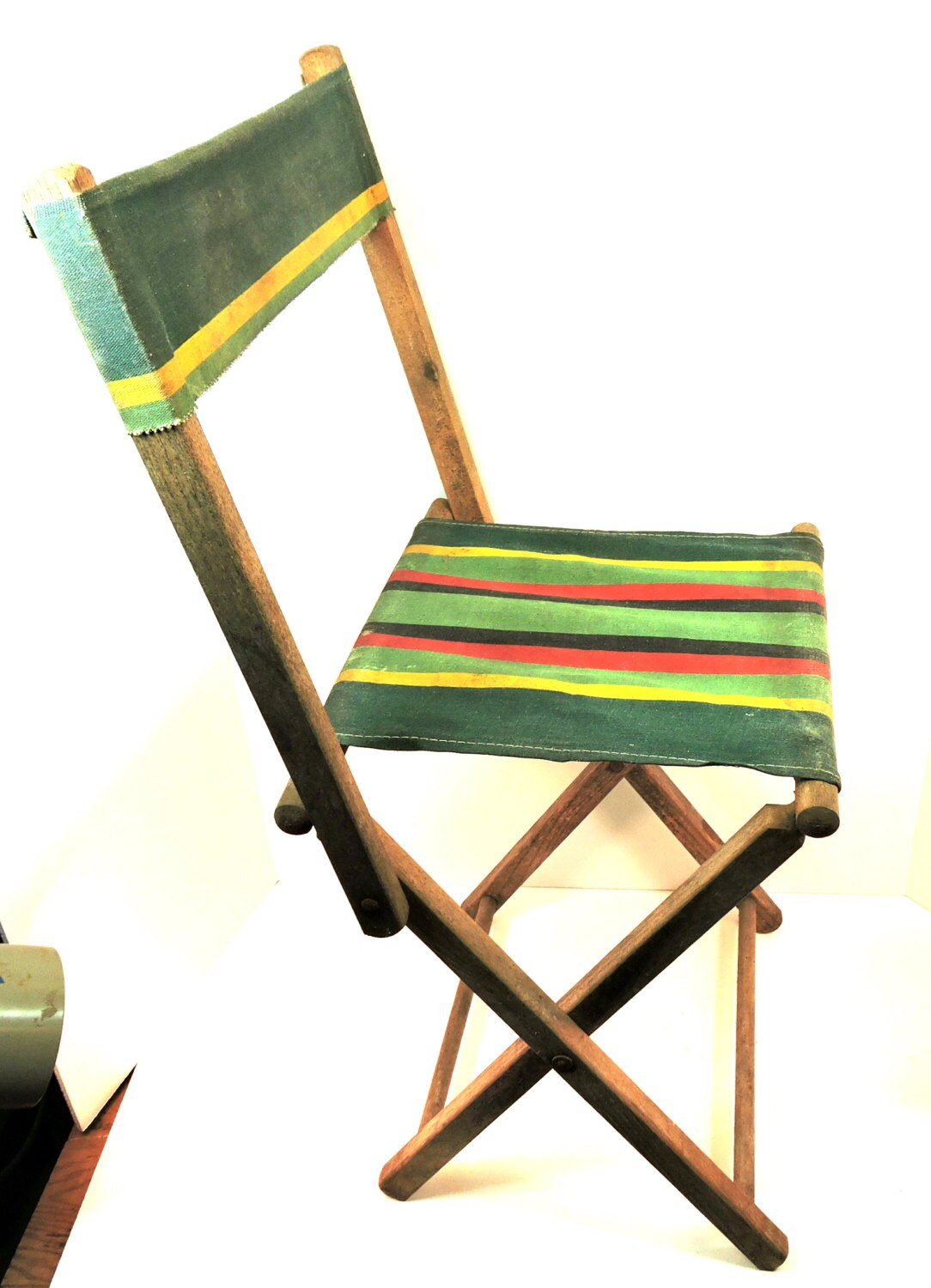 Vintage Camp Stool Folding Back Canoe Camping Seat Tent Chair