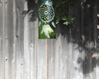 Dream Catcher Wine Bottle Windchime - Chime Repurposed Windcatcher Bottle Etching Rememberance Wedding Shower Outdoor Decor K-G