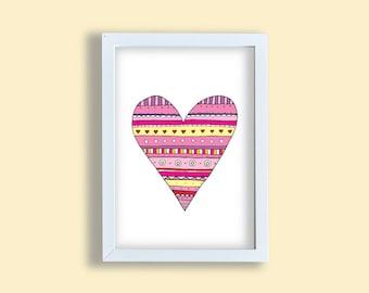 Girl room heart art print, colorful heart, pink nursery art, pen art kids deco print, children room wall art, heart poster wall decoration